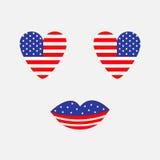 Ikonensatz der Herzformamerikanischen flagge Gesicht mit Augen und den Lippen Stern und Streifen Die glücklichen Unabhängigkeitst Stockfotografie