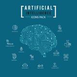 Ikonensatz der künstlichen Intelligenz des Gehirns Stockbilder