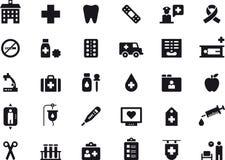 Ikonensatz der medizinischen Behandlung und des Krankenhauses Stockbilder