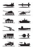 Ikonensatz der militärischen Ausrüstung Lizenzfreies Stockbild