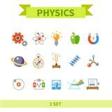Ikonensatz der Physik flacher Farb Stockfotografie