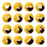 Ikonensatz der verschiedenen Symbole des Luxus und des Zaubers flacher Lizenzfreie Stockbilder