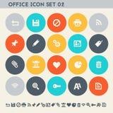Ikonensatz des Büros 2 Mehrfarbige flache Knöpfe Lizenzfreie Stockfotografie