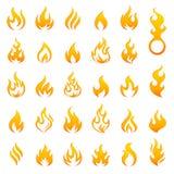 Ikonensatz des farbigen Feuer- und Flammenvektors lizenzfreie abbildung