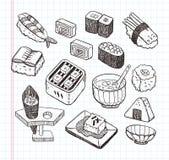 Ikonensatz des Gekritzels japanischer Nahrungsmittel Stockfotos