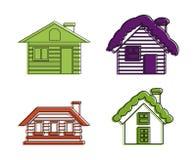 Ikonensatz des hölzernen Hauses, Farbentwurfsart lizenzfreie abbildung