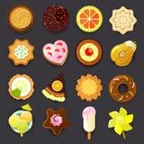 Ikonensatz des Nachtischs (Süßigkeit) Lizenzfreies Stockbild