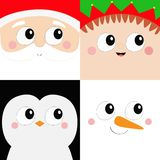 IKONENsatz des quadratischen Gesichtes Santa Claus Elf Snowman Penguin-Vogels Haupt Frohe Weihnachten Neues Jahr Lustiges gespens stock abbildung