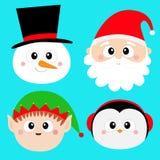 IKONENsatz des runden Gesichtes Santa Claus Elf Snowman Penguin-Vogels Haupt Frohe Weihnachten Neues Jahr Lustiger gespenstischer lizenzfreie abbildung