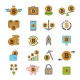 Ikonensatz des Schlüsselgeschäfts Bitcoin und andere Alt-Münzen von blockchain Technologie stock abbildung