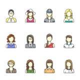 Ikonensatz des unterschiedlichen Frauencharakters in der Linie Art Frau, Mädchen, Geschäftsfrauavataras Lizenzfreie Stockbilder