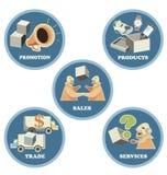 Ikonensatz für Geschäfts-Handels-Handel Stockbild