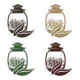 Ikonensatz Glasgefäße mit verschiedenen Gewichten Tee lizenzfreie abbildung