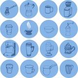 Ikonensatz Kaffeetassen und Versorgungen Stockfotografie