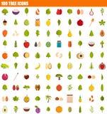 Ikonensatz mit 100 Bäumen, flache Art lizenzfreie abbildung
