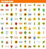 Ikonensatz mit 100 Bauernhöfen, flache Art lizenzfreie abbildung