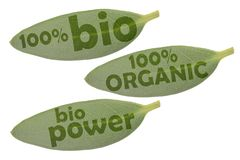 Ikonensatz mit drei grünen Blättern und den Aufschriften 100% organisch, 100% organische und Bioenergie stockbild
