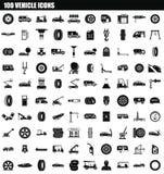 Ikonensatz mit 100 Fahrzeugen, einfache Art stock abbildung