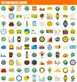 Ikonensatz mit 100 Geschäften, flache Art lizenzfreie abbildung
