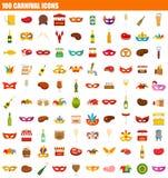 Ikonensatz mit 100 Karnevalen, flache Art lizenzfreie abbildung