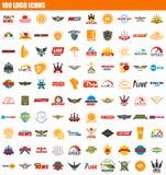 Ikonensatz mit 100 Logos, flache Art vektor abbildung