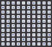 Ikonensatz mit 100 Shops, Quadrat Lizenzfreies Stockfoto