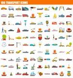 Ikonensatz mit 100 Transporten, flache Art lizenzfreie abbildung
