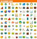 Ikonensatz mit 100 Wirtschaftssystemen, flache Art vektor abbildung