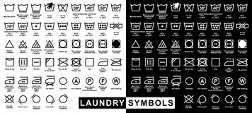 Ikonensatz Wäschereisymbole Lizenzfreies Stockbild