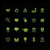 Ikonenschwarzhintergrund der grünen Ökologieikone gesetzter Stockfoto