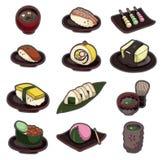 Ikonenset der Karikatur japanisches Nahrungsmittel Lizenzfreies Stockfoto