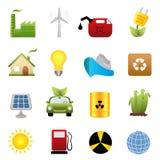 Ikonenset der sauberen Energie stock abbildung
