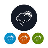 Ikonensonne mit Regen, Vektorillustration Stockbilder