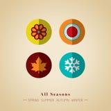 Ikonensymbol-Vektorillustration mit vier Jahreszeiten Stockfoto