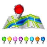 Ikonenvektorkarte der Stadt Stockbild