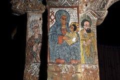 Ikonograficzne sceny w Abuna Yemata kościół w Etiopia Zdjęcie Stock