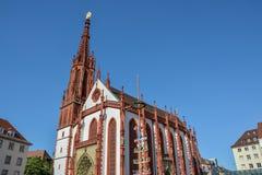 Ikonowa czerwona Marien kaplica przy targowym kwadratem w Wuerzburg o zdjęcia stock
