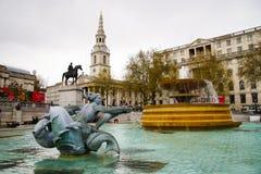 Ikonowa wodna fontanna w Trafalgar kwadracie Obrazy Royalty Free