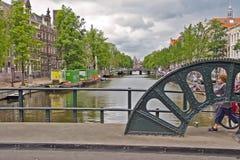 Ikonowe sceny od Amsterdam pokazuje kanały Zdjęcie Stock