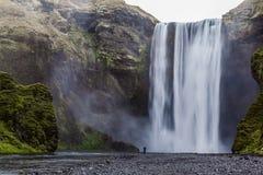 Ikonowy Skagafoss spadek, Iceland Zdjęcie Stock