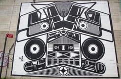 Ikonowy Super Duper systemu dźwiękowego malowidło ścienne Joshua Abram Howard przy India malowidła ściennego Ulicznym projektem w Obrazy Royalty Free