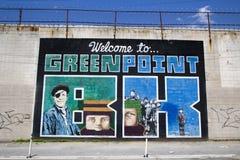 """Ikonowy """"Welcome Greenpoint BK† malowidło ścienne przy India malowidła ściennego Ulicznym projektem w Brooklyn Zdjęcie Stock"""