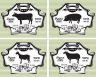Ikony świnie, krowa, cakiel, kózka ilustracja wektor