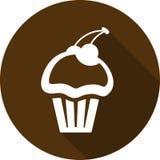 Ikony babeczka z wiśnią z długim cieniem Słodka bułeczka ikona fotografia royalty free