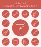 13 ikony budowy przyrządu ilustracja wektor