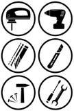 Ikony budowy wyposażenie dla naprawy Zdjęcia Royalty Free