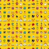 ikony deseniują podróży bezszwowego kolor żółty Obraz Stock