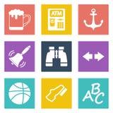 Ikony dla sieci wiszącej ozdoby i projekta zastosowań ustawiają 4 Zdjęcia Royalty Free