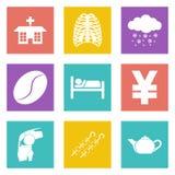 Ikony dla sieci wiszącej ozdoby i projekta zastosowań ustawiają 7 Obrazy Stock