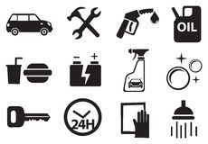 Ikony dla usługa przy stacją benzynową Zdjęcie Royalty Free